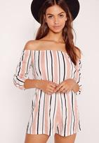 Missguided Stripe Bardot Romper Pink