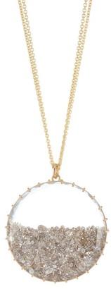 Renee Lewis 18K Yellow Gold, Pink & Cinnamon Diamond Pendant Necklace