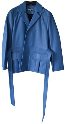 Ganni Blue Leather Jackets