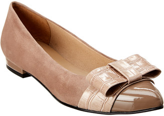 French Sole Adele Suede & Croc-Embossed Flat