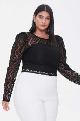 Forever 21 Plus Size Sheer Lace Crop Top