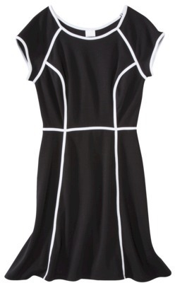 Xhilaration Juniors Fit & Flare Knit Dress with Contrast Piping - Assorted Colors