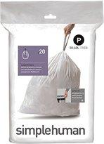 Simplehuman Code P Custom Fit Trash Can Liner, 1 refill pack (20 liners), 50 -60 L / 13-16 Gal
