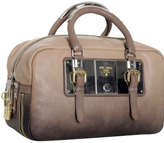 nude ombré leather plated boston bag
