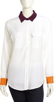 Equipment Signature Colorblock Silk Blouse, White/Cabernet/Orange