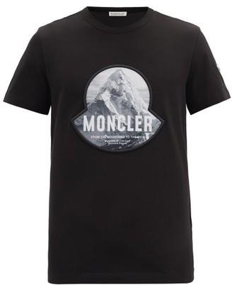 Moncler Mountain Logo-print Cotton T-shirt - Black