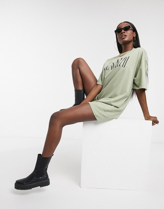 Il Sarto oversized T-shirt dress in light khaki