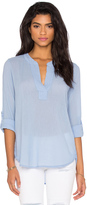 Bobi Gauze V Neck 3/4 Sleeve Top