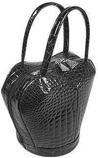 Fontanelli Black Crocodile Stamped Handbag