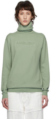Ambush Green Logo Emboss Knit Turtleneck