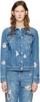 Versus Blue Distressed Denim Jacket