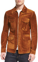 Tom Ford Cashmere-Suede Zip Jacket, Rust