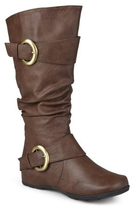 Brinley Co. Women's Wide Calf Slouchy Buckle Detail Boots