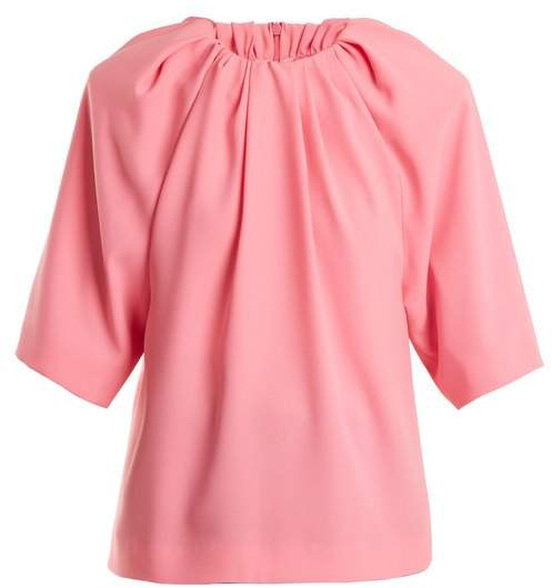Maison Margiela Ruched Neck Crepe Top - Womens - Pink