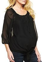JCPenney Maternity 3/4 Sleeve Tie-Front Shirt