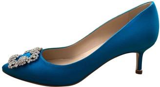 Manolo Blahnik Hangisi Blue Cloth Heels