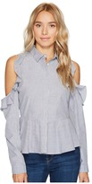 Romeo & Juliet Couture Striped Cold Shoulder Ruffle Button Up Shirt