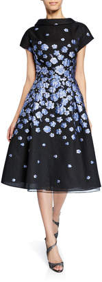 Rickie Freeman For Teri Jon Roll-Neck Cap-Sleeve Flower-Patterned Jacquard Dress
