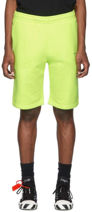 Off-White Off White Yellow Logo Sweat Shorts