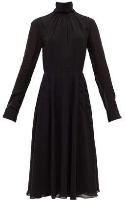 Rochas High-neck Gathered Crepe Dress - Black