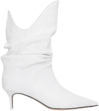ATTICO Low Heels Ankle Boots In White Leather