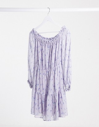 And other stories & lavander print bardot mini dress in lilac