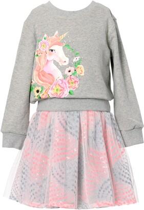 Truly Me Kids' Unicorn Graphic Two-Piece Tutu Dress