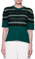 Marni Short-Sleeve Wave-Knit Sweater, Jade