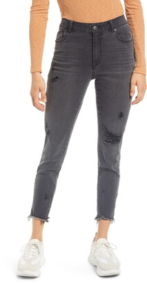 1822 Denim Sharkbite Hem High Rise Ankle Skinny Jeans