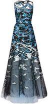 Carolina Herrera abstract print layered organza gown