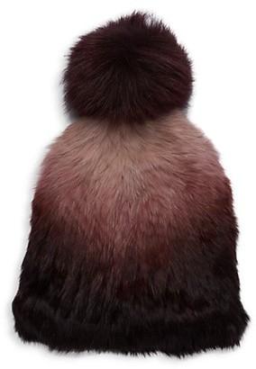 MARCUS ADLER Fox Fur Pom-Pom Ombre Rabbit Fur Hat