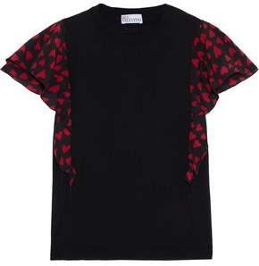 RED Valentino Ruffled Printed Silk-paneled Wool Top