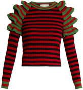 Gucci Striped ruffled-shoulder wool sweater