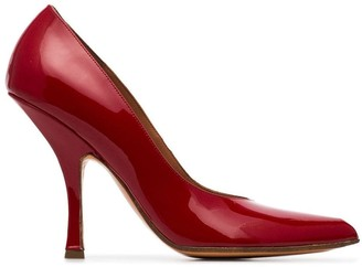 Y/Project red open toe 110 patent leather pumps
