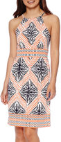 London Times London Style Collection Sleeveless Halter Border Print Dress