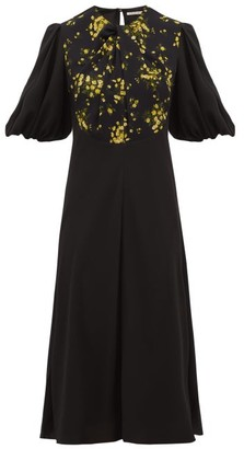 Emilia Wickstead Magnolia Puff-sleeve Floral Georgette Midi Dress - Black Multi