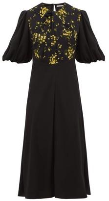 Emilia Wickstead Magnolia Puff-sleeve Floral Georgette Midi Dress - Womens - Black Multi