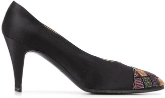 Chanel Pre Owned 1990s Beaded Cap Toe Satin Pumps
