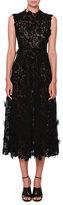 Valentino Sleeveless 3D Lace Midi Dress, Black