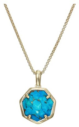 Kendra Scott Cynthia Small Long Pendant Necklace (Gold/Bronze/Veined Turquoise) Necklace