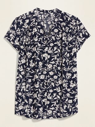 Old Navy Printed Banded-Collar Button-Front Short-Sleeve Shirt for Women