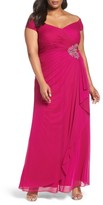 Alex Evenings Plus Size Women's Embellished Off The Shoulder Gown