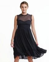 Cynthia Rowley Silk Georgette Raw Edge Sleeveless Dress