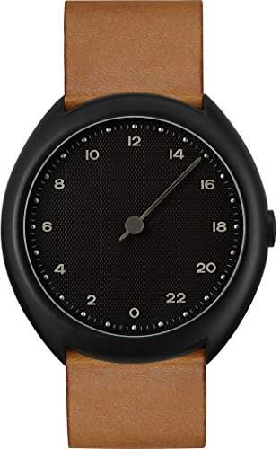 Slow O 11 - Brown Vintage Leather Black Case Black Dial Unisex Quartz Watch with Black Dial Analogue Display and Brown Leather Strap