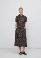 Comme des Garcons black ink b peter pan collar s/s polka dot dress