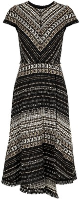Paule Ka Textured Metallic-weave Boucle-knit Midi Dress