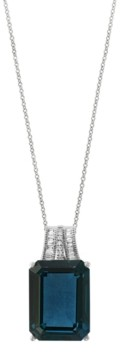 Effy Blue Topaz (12-1/3 ct. t.w.) and Diamond (1/10 ct. t.w.) Pendant Necklace in 14k Rose Gold