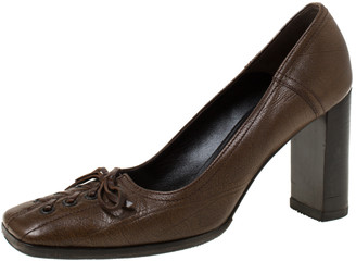 Miu Miu Brown Leather Bow Detail Block Heel Pumps Size 37