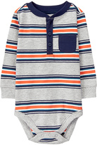 Gymboree Gray & Orange Stripe Henley Bodysuit - Infant
