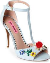 Betsey Johnson Denim Leno Embellished T-Strap Pumps